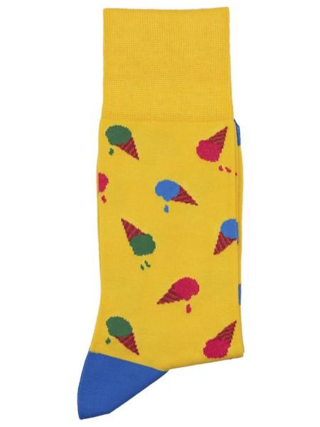 POURNARA Ανδρικές Κάλτσες Design Ice Cream #211-201 Κίτρινες
