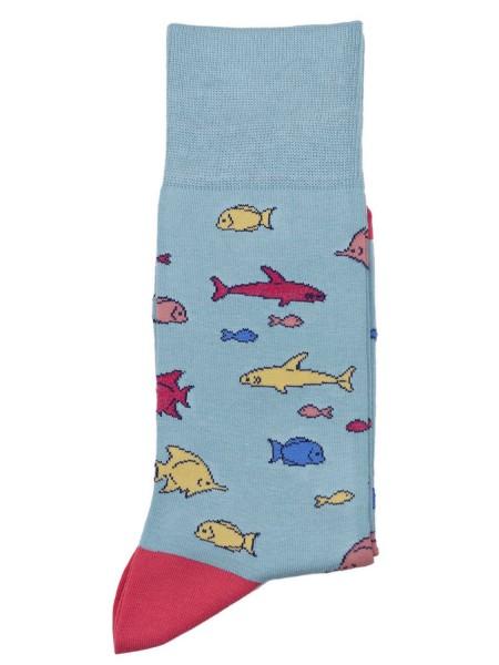 POURNARA Ανδρικές Κάλτσες Design Fish #211-206 Γαλάζιες