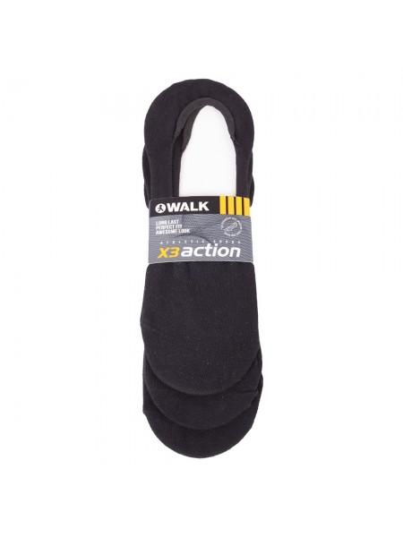WALK Ανδρικές Αόρατες Βαμβακερές Κάλτσες Με Σιλικόνη Στην Φτέρνα Σετ 3 Ζεύγη ΜΑΥΡΟ - V25