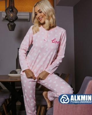 ALKMIN - Γυναικεία Χειμερινή Πυτζάμα Βαμβακερή #120-1110 Ροζ