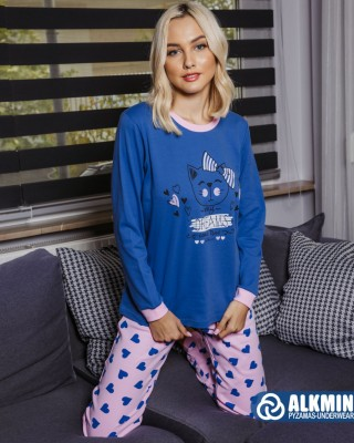 ALKMIN - Γυναικεία Χειμερινή Πυτζάμα Βαμβακερή #120-1114 Μπλε