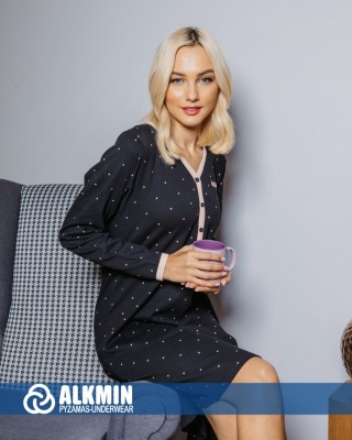 ALKMIN - Γυναικεία Χειμερινό Νυχτικό Βαμβακερό #120-1124 Μαύρο