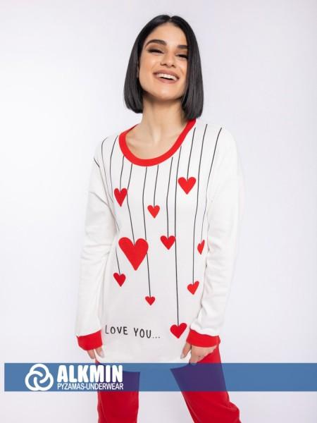 ALKMIN - Γυναικεία Χειμερινή Πυτζάμα Βαμβακερή #120-1129 Κόκκινο