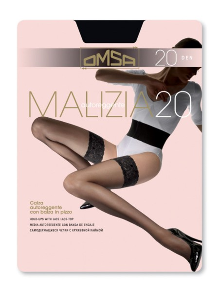 OMSA Γυναικεία Καλτσοδέτα Με Σιλικόνη MALIZIA 20 DEN #258-0091 BLACK
