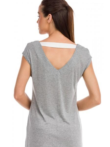 Vamp - Κοντομάνικη Μπλούζα με Τσέπη gray melange 12295