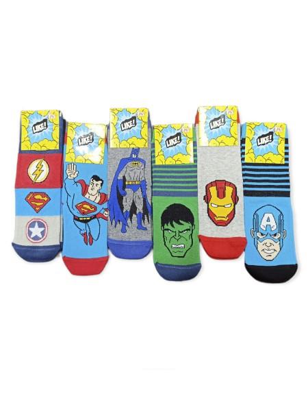 LIKE Kάλτσες ψηλές με σχέδια για αγόρι σετ 6 ζεύγη #Heroes