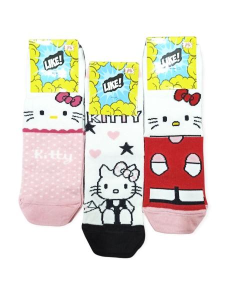 LIKE Kάλτσες ψηλές με σχέδια για κορίτσι σετ 6 ζεύγη #KITY