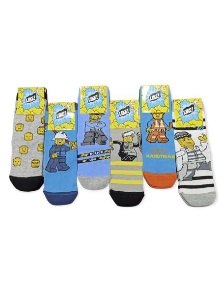 LIKE Kάλτσες ψηλές με σχέδια για αγόρι σετ 6 ζεύγη #LEGO