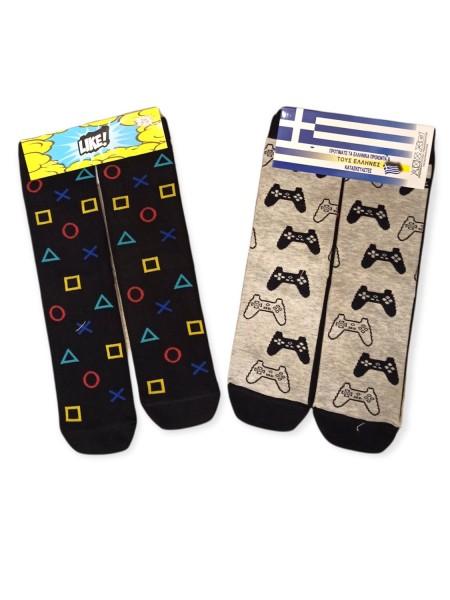 LIKE Kάλτσες ψηλές με σχέδια για αγόρι σετ 2 ζεύγη #PS