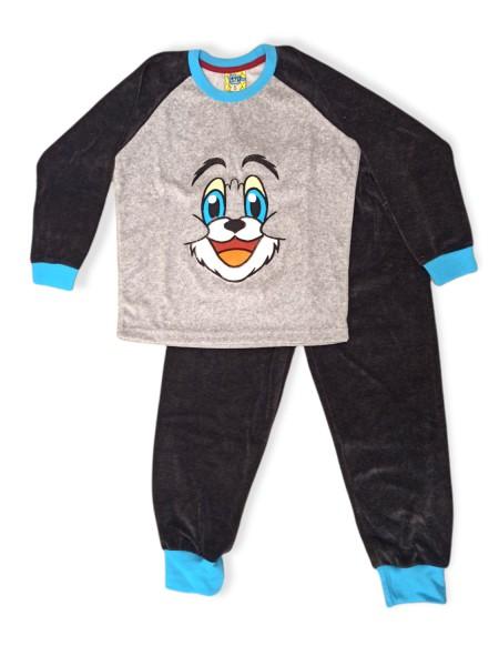LIKE Bebe Πυτζάμα Χειμωνιάτικη Βελουτέ για αγόρι 1-5 ετών #118-0134 Γκρι Μαύρο