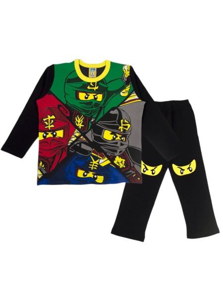 LIKE Παιδική Πυτζάμα Χειμωνιάτικη για αγόρι 6-12 ετών #119-0046 Μαύρο