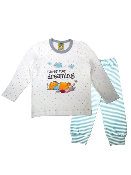LIKE Bebe Πυτζάμα Χειμωνιάτικη για αγόρι 1-5 ετών #120-0105 Λευκό Σχιελ