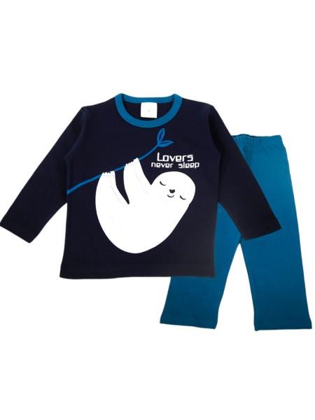 LIKE Παιδική Πυτζάμα Χειμωνιάτικη για αγόρι 6-12 ετών #120-1601 Μαύρο