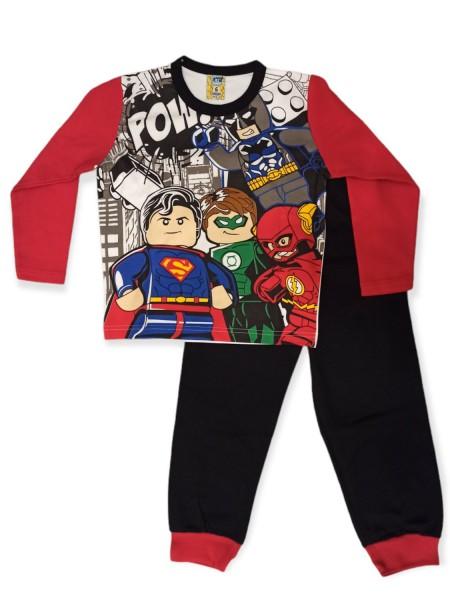 LIKE Παιδική Πυτζάμα Χειμωνιάτικη για αγόρι 6-12 ετών #121-0011 Κόκκινο Μαύρο