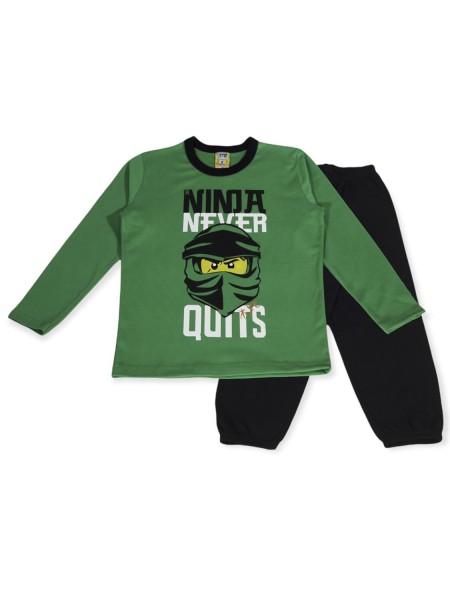 LIKE Παιδική Πυτζάμα Χειμωνιάτικη για αγόρι 6-12 ετών #121-0012 Πράσινο