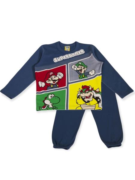 LIKE Παιδική Πυτζάμα Χειμωνιάτικη για αγόρι 6-12 ετών #121-0015 Μπλε