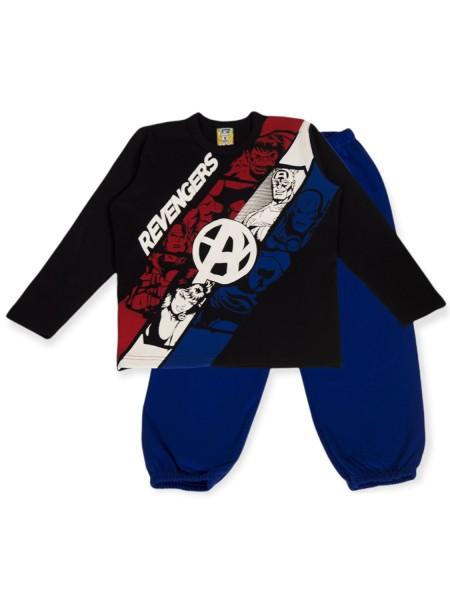 LIKE Παιδική Πυτζάμα Χειμωνιάτικη για αγόρι 6-12 ετών #121-0026 Μαύρο Μπλε