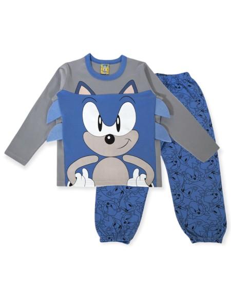 LIKE Παιδική Πυτζάμα Χειμωνιάτικη για αγόρι 6-12 ετών #121-0028 Γκρι Μπλε
