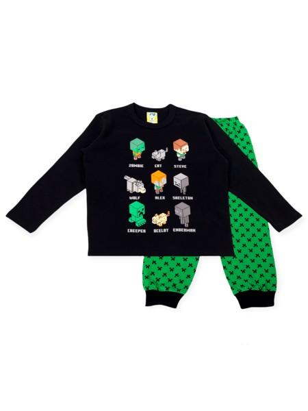 LIKE Παιδική Πυτζάμα Χειμωνιάτικη για αγόρι 6-12 ετών #121-0029 Μαύρο Πράσινο