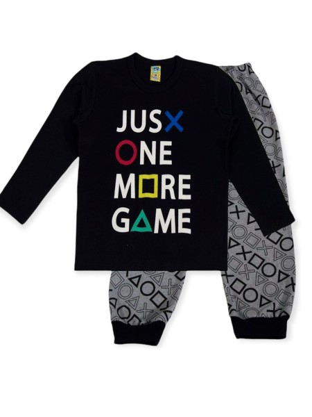 LIKE Παιδική Πυτζάμα Χειμωνιάτικη για αγόρι 6-12 ετών #121-0035 Μαύρο