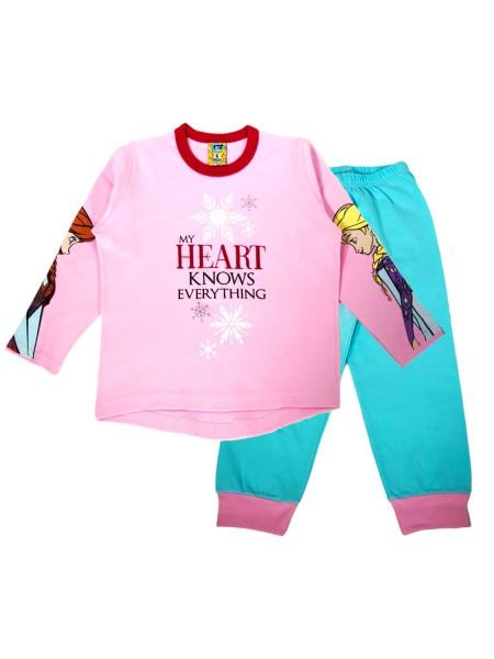LIKE Παιδική Πυτζάμα Χειμωνιάτικη για Κορίτσι 6-12 ετών #119-0247 Ροζ Σχιελ
