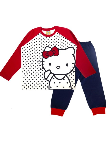LIKE Παιδική Πυτζάμα Χειμωνιάτικη για Κορίτσι 6-12 ετών #120-0205 Λευκό Κόκκινο