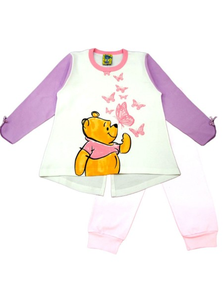 LIKE Bebe Πυτζάμα Χειμωνιάτικη για Κορίτσι 1-5 ετών #120-0308 Λευκό Ροζ