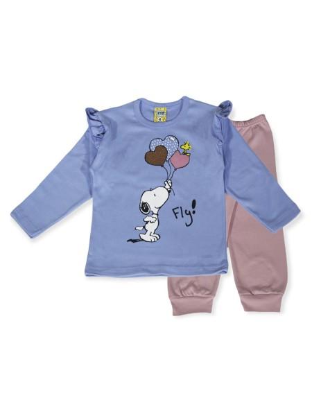 LIKE Bebe Πυτζάμα Χειμωνιάτικη για Κορίτσι 1-5 ετών #121-0313 Γαλάζιο