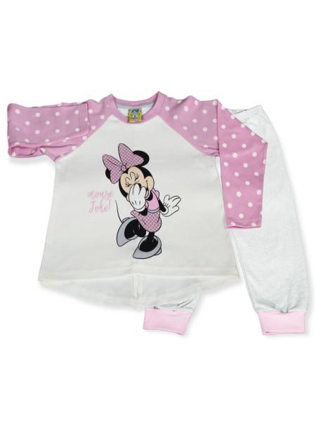 LIKE Bebe Πυτζάμα Χειμωνιάτικη για Κορίτσι 1-5 ετών #121-0316 Ροζ Λευκό