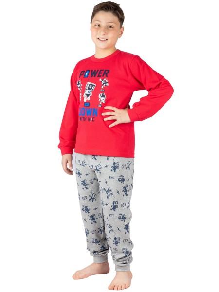 NINA CLUB Πιτζάμα Χειμωνιάτικη για αγόρι POWER DOWN 6-10 ετών #147 Κόκκινη