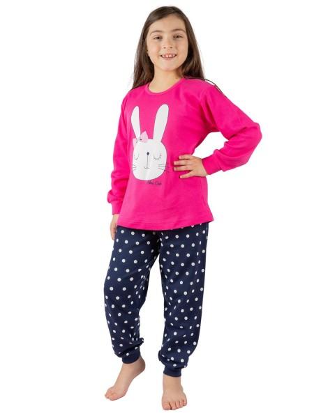 NINA CLUB Παιδική Πιτζάμα Χειμωνιάτικη για Κορίτσι Bunny 5-10 ετών #144 Φούξια
