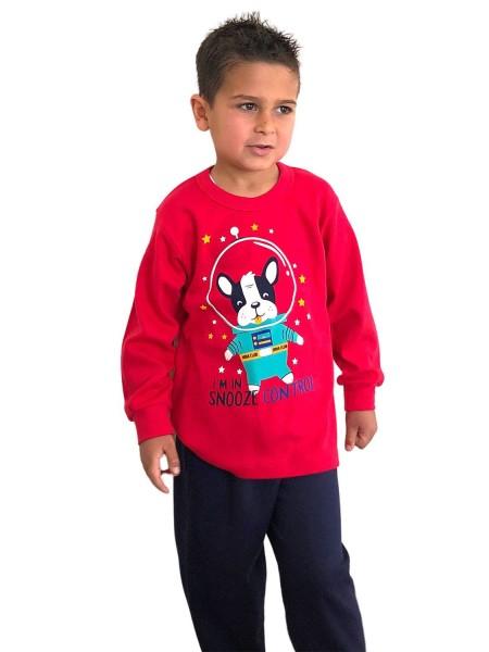NINA CLUB Πιτζάμα Χειμωνιάτικη για αγόρι Snooze Control 1-5 ετών #147 Κόκκινη
