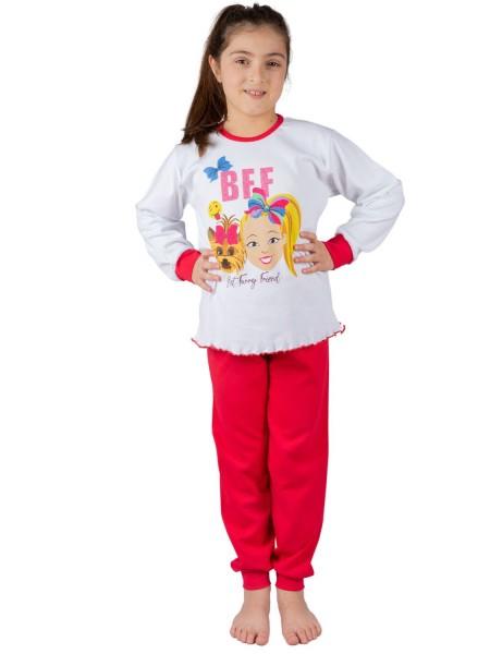 """NINA CLUB Παιδική Πιτζάμα Χειμωνιάτικη για Κορίτσι """"BFF"""" 1-10 ετών #244 Λευκή"""